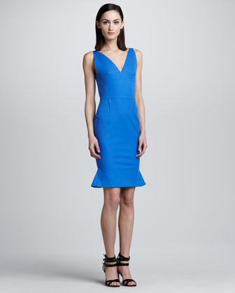 Jasper Fluted Dress, Cobalt