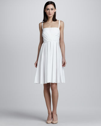 Shirred Cotton Dress, White