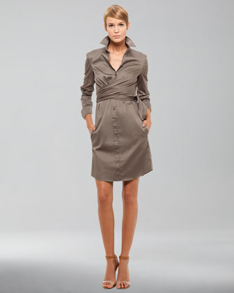 Side-Wrap Shirtdress, Khaki