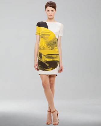 Arc de Triomphe-Print Dress, White/Black/Yellow