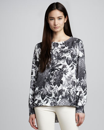 Long-Sleeve Floral-Print Top