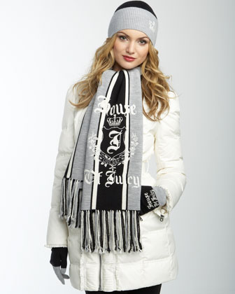 Stripe Scarf, Black and Dark Gray