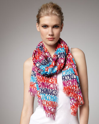 This MARC by Marc Jacobs scarf brings a pop of colorand designer