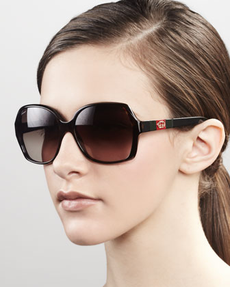 Logo Square Frame Sunglasses, Dark Havana