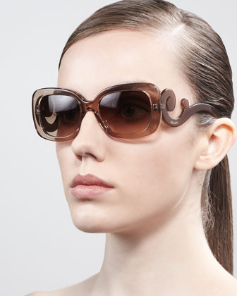 Curved-Temple Sunglasses, Brown