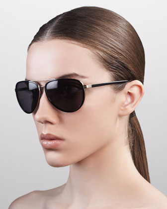 Marshall Thick-Rimmed Aviator Sunglasses, Black