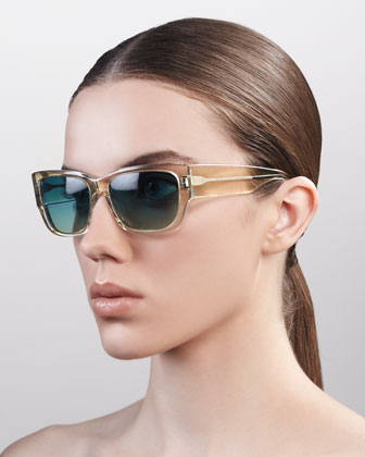 Sasha Wide-Arm Square Sunglasses, Champagne