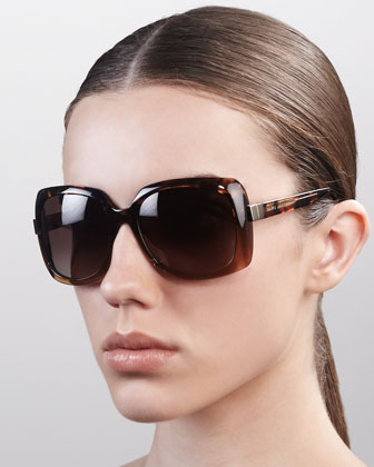Square Sunglasses, Havana Gray