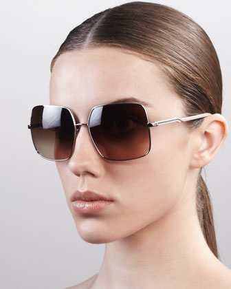 Square Metal Sunglasses, Silver