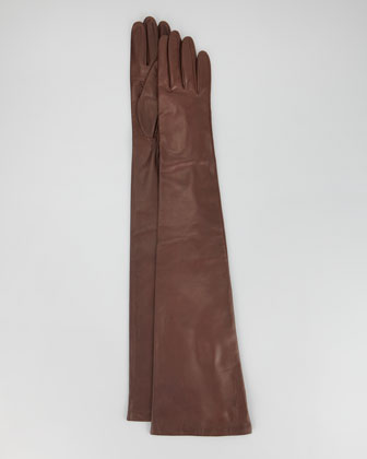 Opera-Length Leather Gloves, Tan