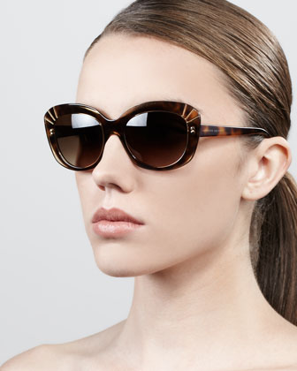 Deco Cat-Eye Sunglasses, Champagne Havana
