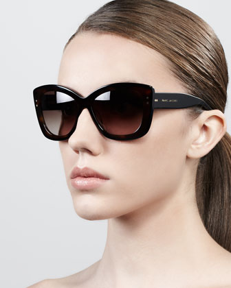 Thick-Rim Cat-Eye Sunglasses, Havana