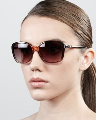 Ombre Butterfly Sunglasses, Peach