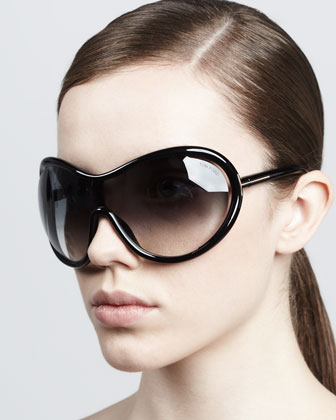 Grant Oversized Shield Sunglasses, Black