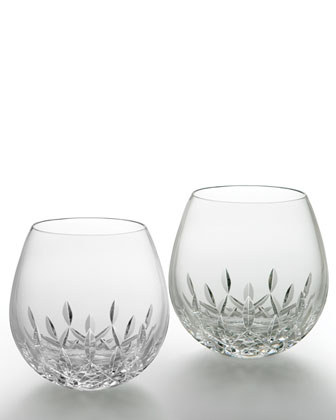 Stemless Light Red Wine Glasses, Set of Two
