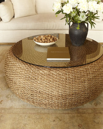 Furniture Living Room Furniture Glass Table Woven Glass Table