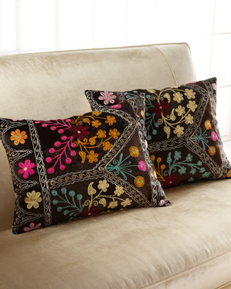 Bold Embroidery Velvet Pillow