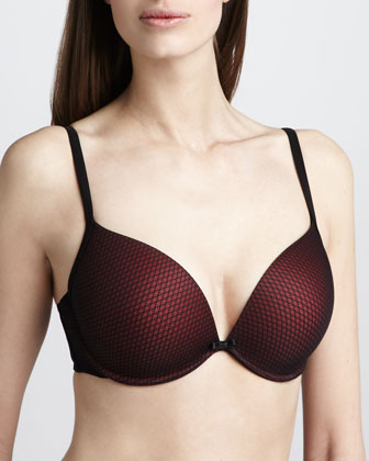 Plunging Push-Up Bra, Black/Red