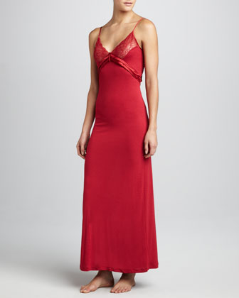 Long Satin-Trim Gown