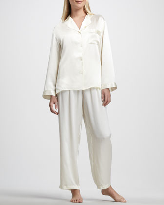 Tailored Silk Pajamas, Ivory
