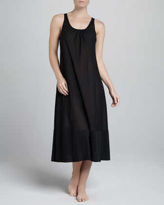 Cotton Batiste Long Gown, Black