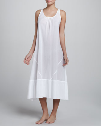 Batiste Cotton Gown, Long, White