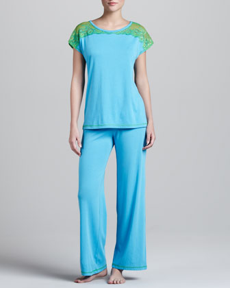 Lace-Shoulder Pajamas, Azure Blue/Green