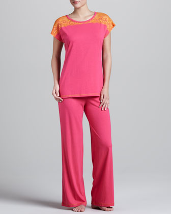 Lace-Shoulder Pajamas, Cosmo Pink