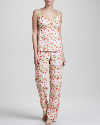 Strawberry-Print Camisole Pajamas