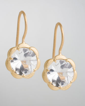 Scalloped White Topaz Drop Earrings