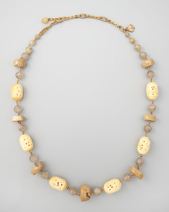 Carved Bone Novelty Necklace, Beige