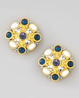 Cluster Button Clip Earrings, Blue/White