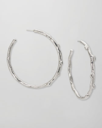 Large Silver Twig Hoop Earrings, 2