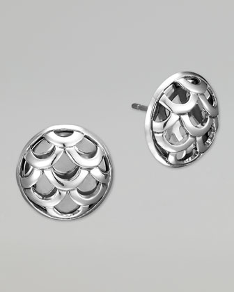 Naga Silver Round Stud Earrings