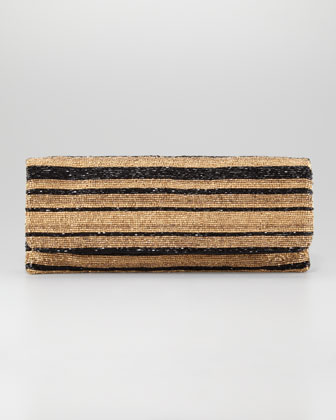 Long Stripe-Beaded Clutch Bag, Golden