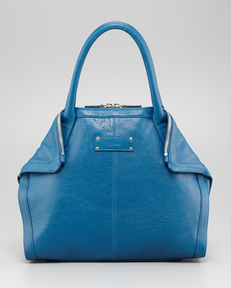 De-Manta Leather Mini Tote Bag, Prussian Blue