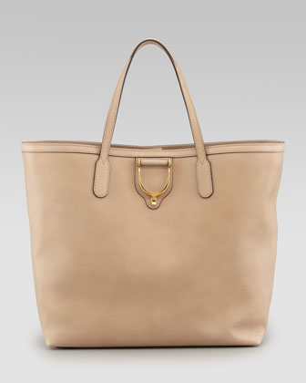 Soft Stirrup Leather Tote, Cream