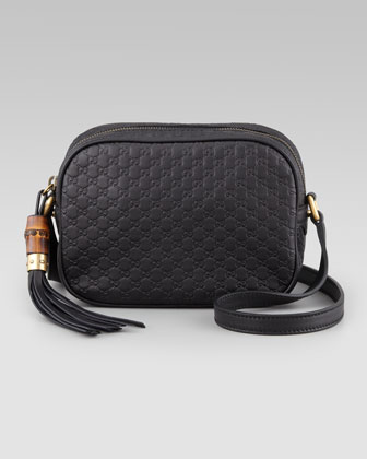 GG Sunshine Leather Crossbody Bag, Black