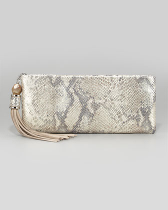 Celia Tassel Clutch Bag, Silver Embossed