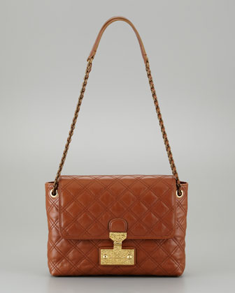 Single Baroque Large Quilted Bag, Cognac