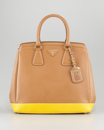 Saffiano Luxe Bicolor Tote Bag, Dark Camel/Yellow