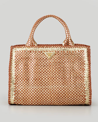 Woven Small East-West Tote Bag