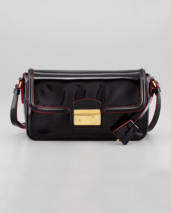 Spazzolato Small Flap Crossbody Bag, Black/Red