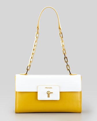 Saffiano Vernice Chain Shoulder Bag, Soleil/White