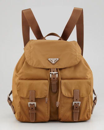 Large Nylon Backpack, Medium Brown