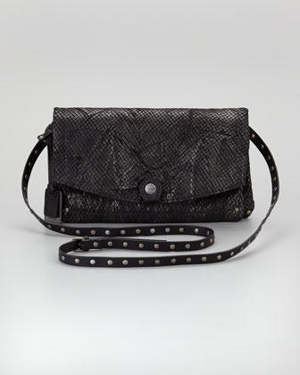 Coleen Snake-Print Crossbody Clutch Bag, Black