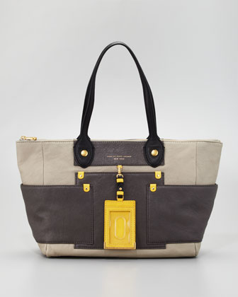 Preppy Colorblock Leather East-West Tote Bag, Silver Fox