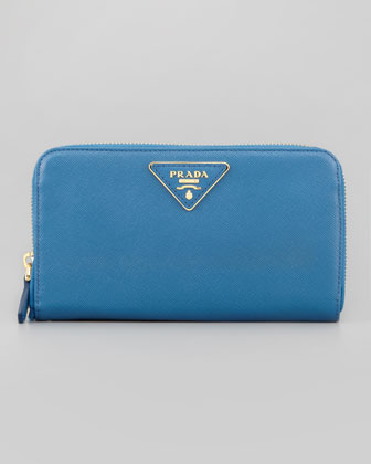 Saffiano Zip-Around Wallet, Cobalt