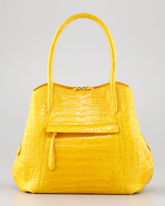 Compartmentalized Crocodile Tote Bag, Marigold