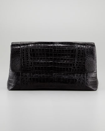Large Crocodile Clutch, Black